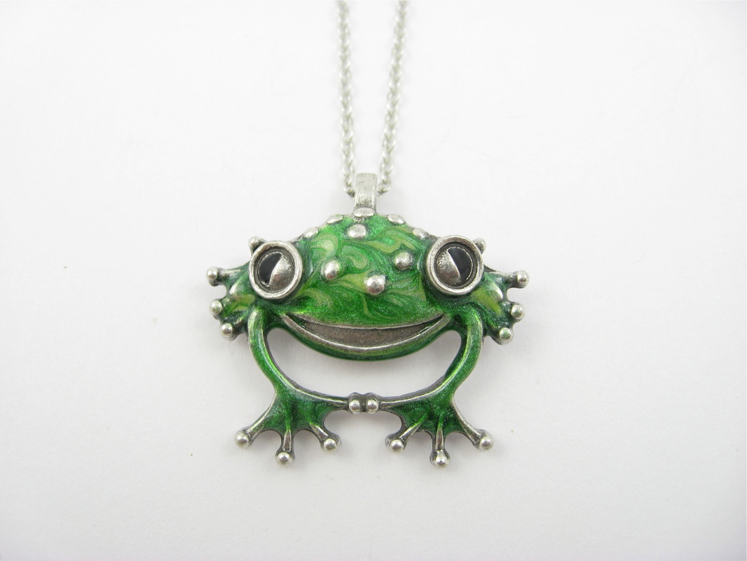 smiling frog pendant sculptures by stepper